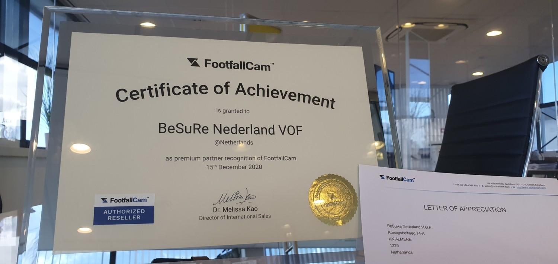 Certificate of Achievement FootfallCam - Premium Partner - Authorized Reseller